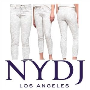 NYDJ Gray Off White Cotton Twill Slim Ankle Pants
